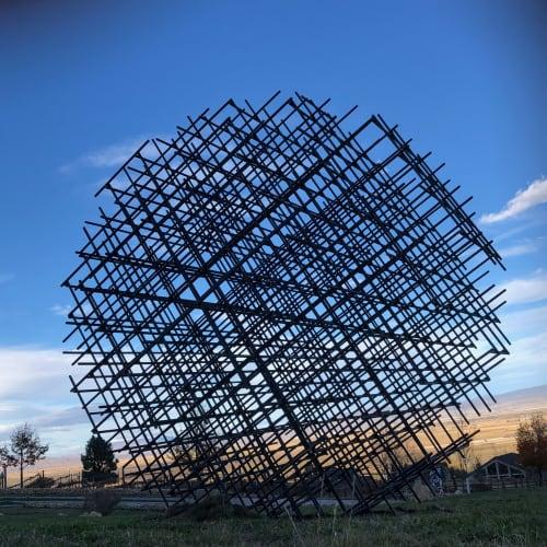 Atom Rebar Sphere   Public Sculptures by Philip Vaughan   Buffalo Creek Art Center in Gardnerville