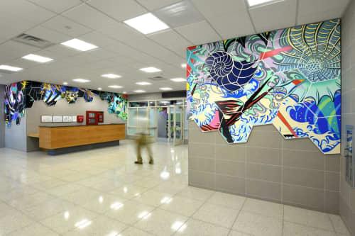 """Public Art by Peter D. Gerakaris Studio seen at Public School 101, Brooklyn - """"Cosmic Bridge"""" - NYC Percent for Art Commission at PS101"""
