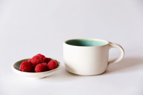 White And Turquoise Modern Coffee Mug   Cups by Tina Fossella Pottery