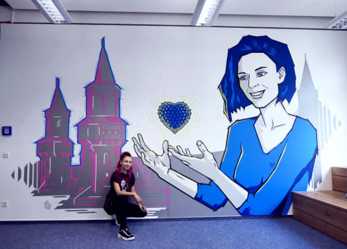 Tape Art Indoor Mural | Murals by Fabifa | Vilua Healthcare GmbH in Berlin