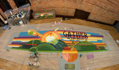 Murals by Rogers Create seen at Richland Center, Richland Center - Coffee shop mural