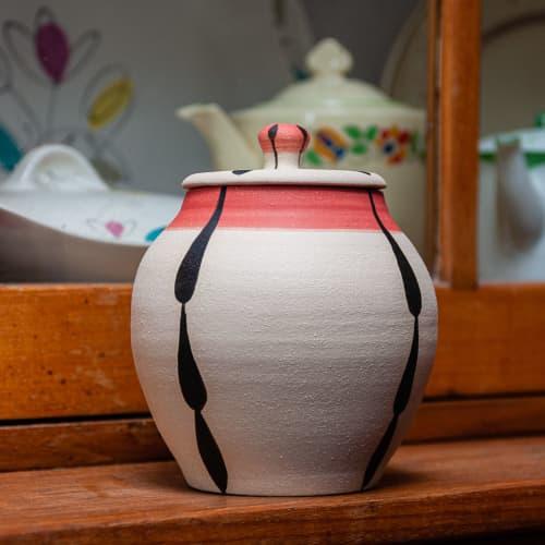 Lidded stoneware 'Foliage' jar | Tableware by Kyra Mihailovic Ceramics