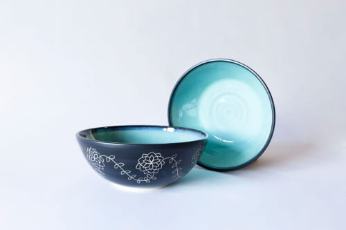 Turquoise & Black Deep Serving Bowl With Hand Carved Design   Tableware by Tina Fossella Pottery
