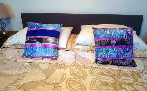 Two Blue Bed Pillows | Pillows by LNozickArt/Design