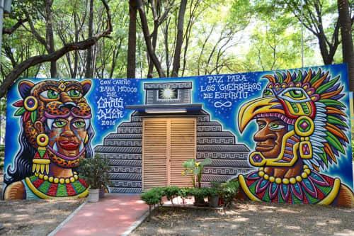 Street Murals by Chris Dyer seen at Parque Mexico, Ciudad de México - Spiritual Warriors