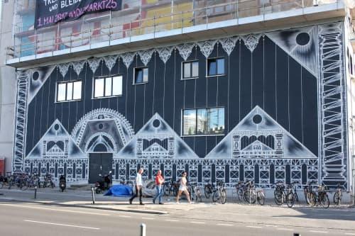 Murals by Isakov seen at Holzmarktstraße 25, Berlin - Holzmarkt 25