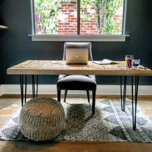 Furniture by Grain & Gauge seen at Private Residence, New Orleans - Reclaimed Boxcar Flooring Desk