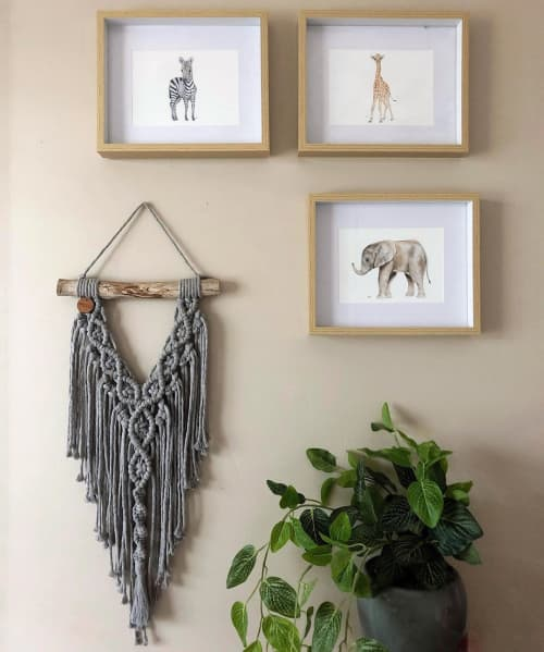 Macrame Wall Hanging by Ariella Home - Small Gray Macrame Wall Hanging