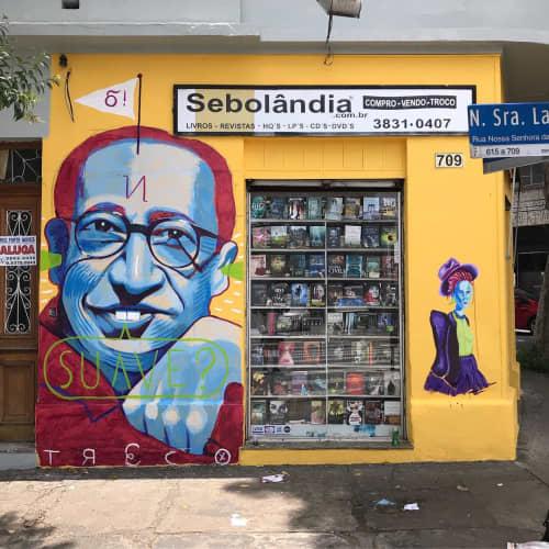 Murals by Deco Farkas at Sebolandia Shop Lapa, Alto da Lapa - Manuel Bandeira Mural