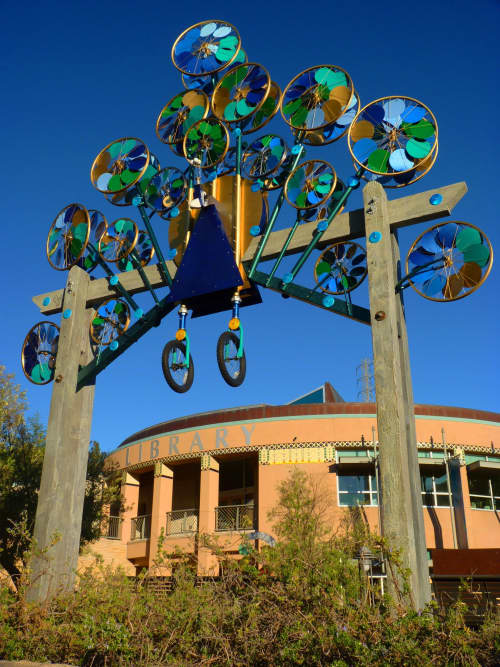 Wheeley Whirly Peacock | Public Sculptures by Patricia Vader | Orinda Library in Orinda