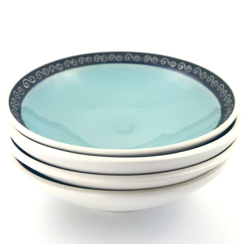 Spiral Band Shallow Serving Bowl | Tableware by Tina Fossella Pottery