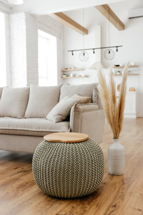 Tables by Chasha Home seen at Private Residence, Vienna - Coffee Table - Knitted Pouf