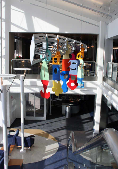 Sculptures by Richard Taylor seen at General Mitchell International Airport, Milwaukee - Blue Sky Between Footsteps