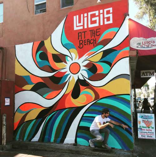 Murals by Tyson King seen at Mission Beach, San Diego - Luigis at the Beach Mural