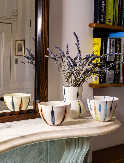 Porcelain 'Tulips' bowl | Vases & Vessels by Kyra Mihailovic Ceramics