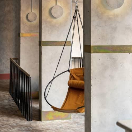 Chairs by Studio Stirling seen at Bermonds Locke, Tower Bridge, London - SLING - Soft Leather - Ochre