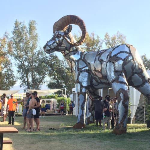 """Public Sculptures by Don Kennell seen at Shady Lane Park, Coachella - """"Ram Jam"""""""