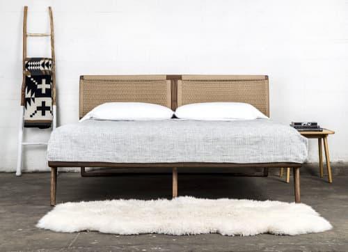 Beds & Accessories by Semigood Design seen at Creator's Studio, Issaquah - Hardwood Rian Bed, Woven Danish Cord Headboard