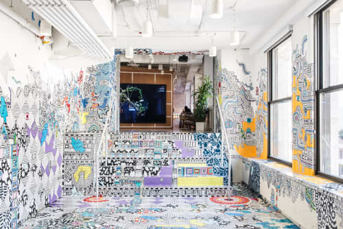 Murals by Sophie Roach at Facebook, New York, Astor Place, New York - Facebook Artist in Residence - NYC - 2017