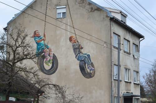Tires in the sky | Street Murals by Gyva Grafika | Kaunas in Kaunas