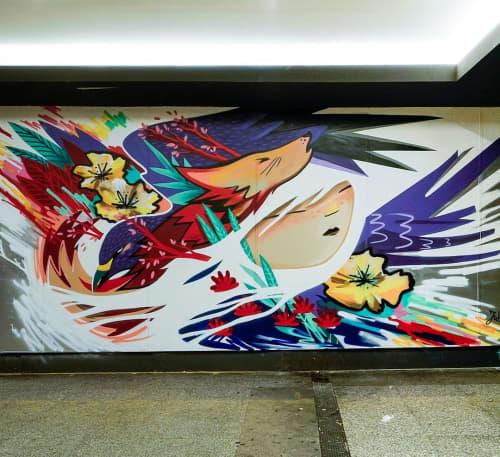 Mural   Murals by Julieta XLF   Centro Comercial Plaza de los Cubos in Madrid