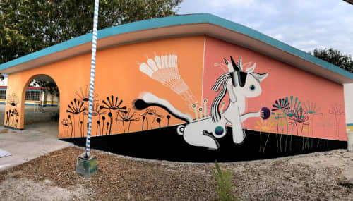 Unicorn dog that came down to bless the garden   Murals by Marisol D'Estrabeau