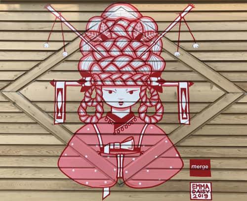 Murals by Emma Daisy at Merge, Milwaukee - HANBOK GIRL & 2 STINKING FISH