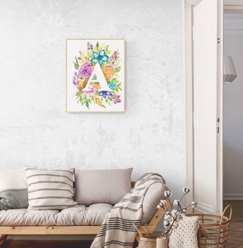 Original Watercolor Painting/Custom Monogram Floral Watercol | Paintings by Swapna Khade