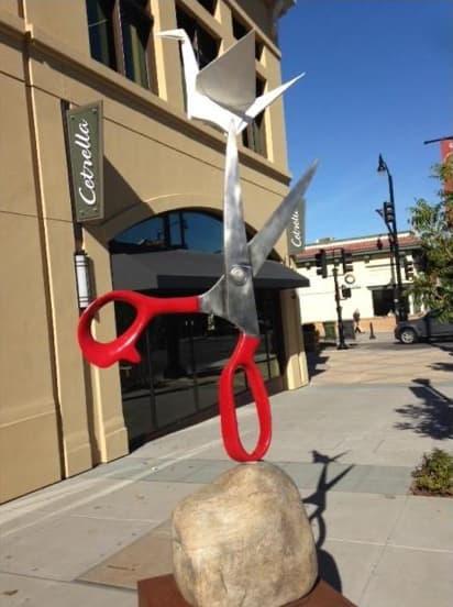 Public Sculptures by KevinBoxStudio. at Cetrella, Los Altos - Conversation Peace