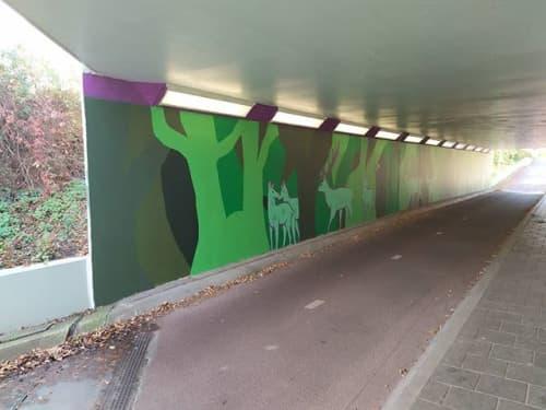 Street Murals by The Horned Mouse seen at Husselerweg, Putten - Fietstunnel Putten