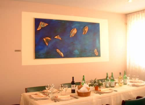 Sky and Water with Fallen Leaves | Paintings by LNozickArt/Design | Arte Hotel Perugia in Perugia