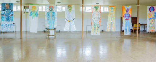 Paintings by Janet Morgan seen at Artscape Gibraltar Point, Toronto - The Luminous Bodies Residency Exhibition