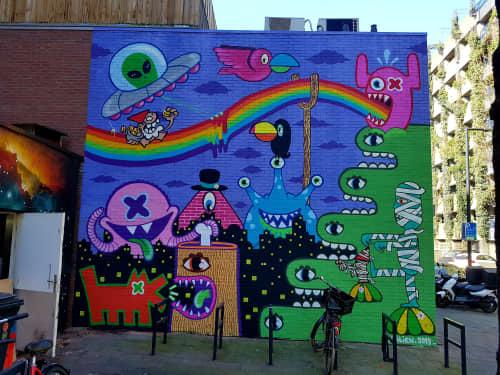 Mural at Wijnbar Het Eigendom   Murals by Ox-Alien