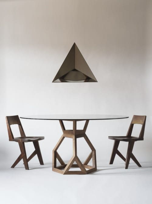 Tetrahedron Dining Table | Wall Hangings by Robert Sukrachand