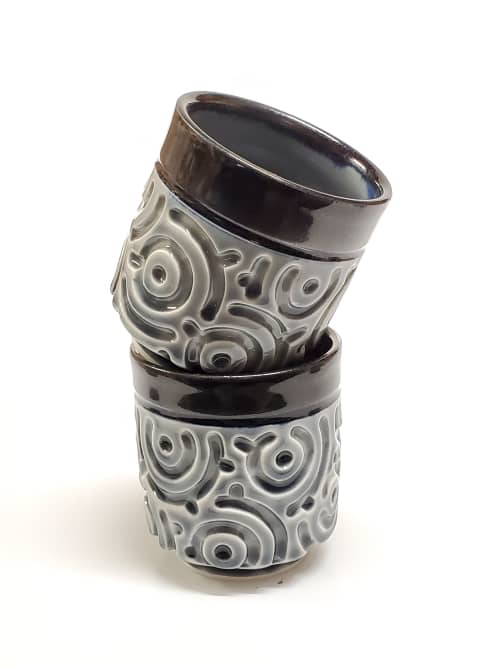 Cups by Joe Lee seen at Private Residence, Irvine - Carved Teacup in Steel Grey