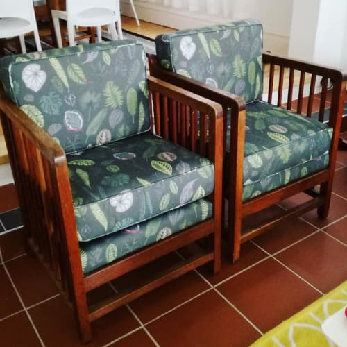 Chairs by Sera Holland seen at Private Residence, Cape Town - Foliage on Green lux panama fabric