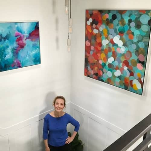 Paintings by Art by JK Bleeg - Paintings: Collecting Sea Glass (L) and Sparkle (R)