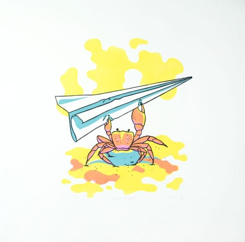 Crab with Paper Airplane Relief Print | Art & Wall Decor by Daniela de Castro Sucre | Private Residence in Pensacola