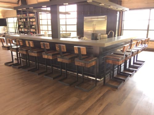 Chairs by Stål Timber - Design and Build Company seen at Private Residence, Dallas - Reclaimed Timber and Steel Bar Stools ( Barstools )