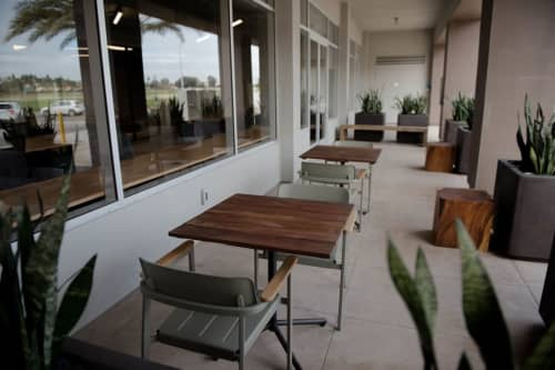 Reclaimed Teak Wood Gallant Table Top   Tables by From the Source   CommonGrounds Workplace in Carlsbad