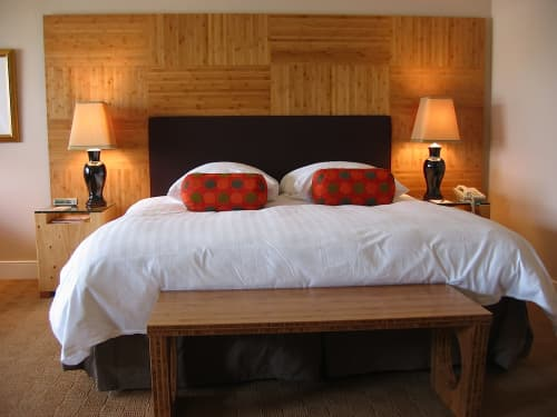 Bamboo Headboard Panel and Bench   Beds & Accessories by Jason Lees Design   The Inn Above Tide in Sausalito