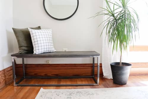 Benches & Ottomans by Hazel Oak Farms seen at Private Residence, Homestead - Modern Metal & Wood Bench