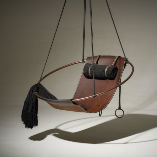 Sling Hanging Swing Chair - Thick Leather   Chairs by Studio Stirling