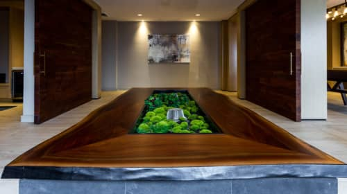 Live Edge Black Walnut Planter Surround | Furniture by reSAWN TIMBER co. | Highgate at the Mile in Tysons