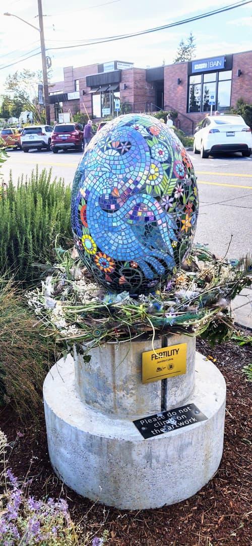 Public Mosaics by JK Mosaic, LLC seen at Winslow Way West, Bainbridge Island - Fertility - Egg Sculpture