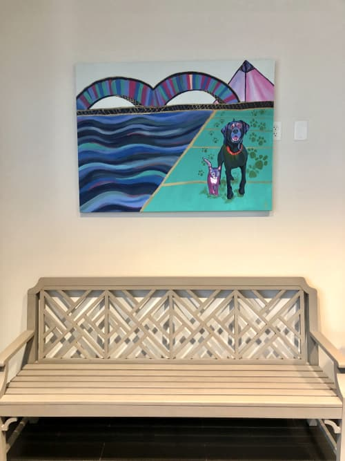 Finn With The Bridge, Riverwalk, And Pyramid   Paintings by Dare Harcourt Art   Walnut Grove Animal Clinic in Memphis