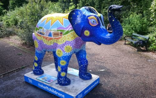 Murals by James Croft seen at Sheffield Botanical Gardens, Sheffield - Herd of Sheffield - We're in it together