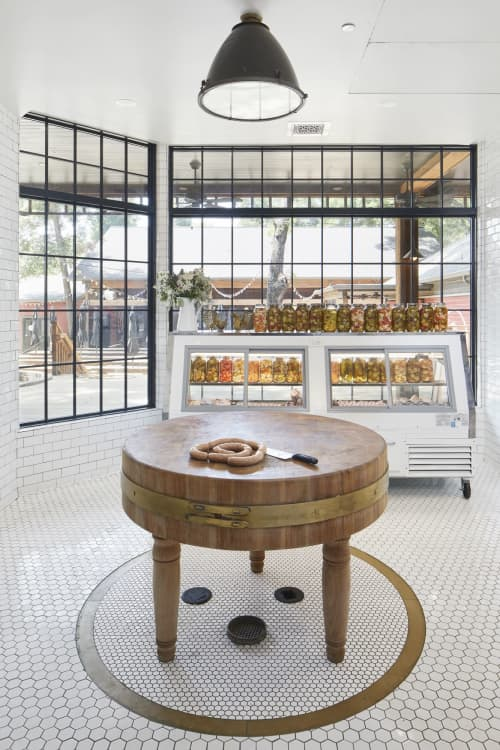 Tables by Boomtown Design at Banger's Sausage House & Beer Garden, Austin - Custom Table