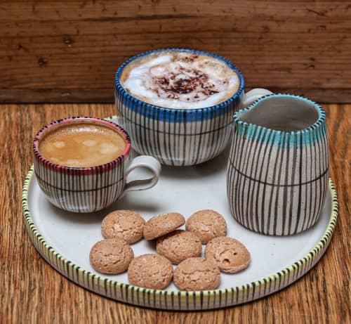 Stoneware coffee set in 'Reeds' design   Cups by Kyra Mihailovic Ceramics