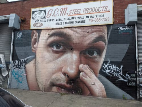 Street Murals by Rosk&Loste at G.C.M. STEEL PRODUCTS., INC, Brooklyn - I Have A Secret